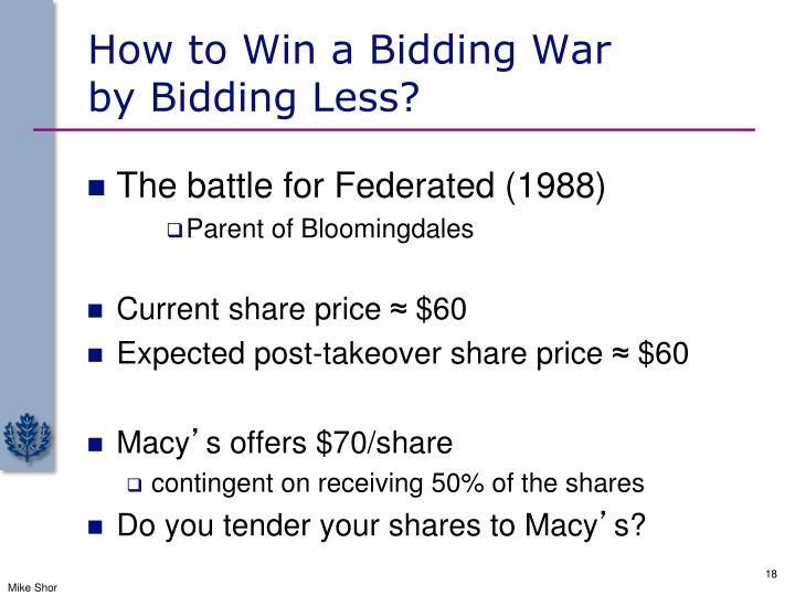 How to Win a Bidding War              by Bidding Less?