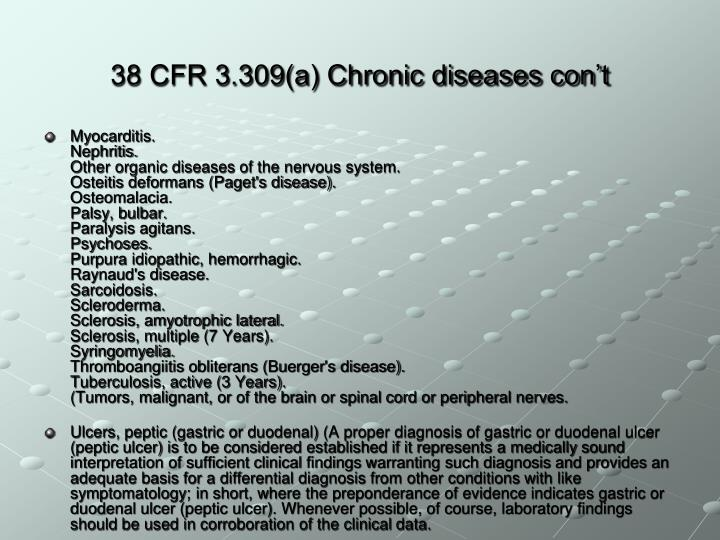 38 CFR 3.309(a) Chronic diseases con't
