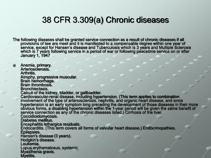 38 CFR 3.309(a) Chronic diseases