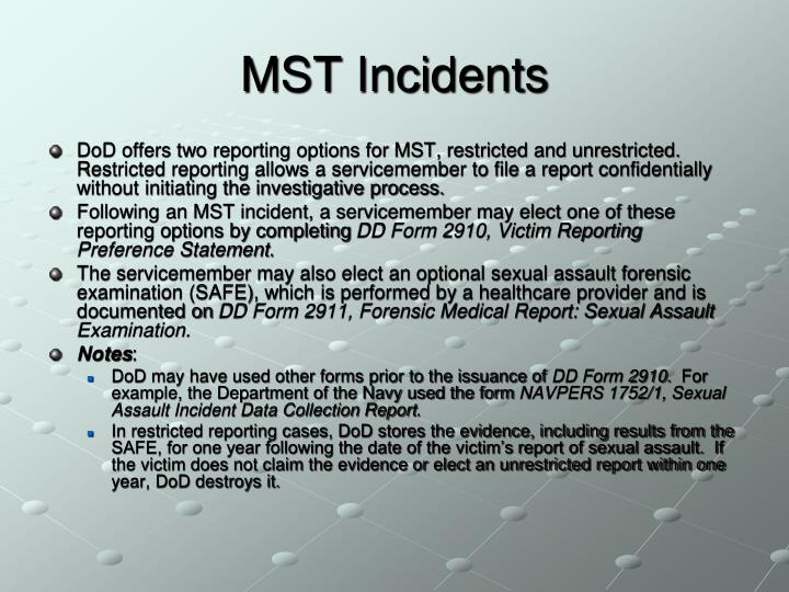 MST Incidents