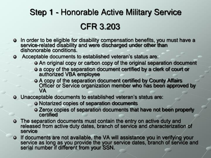 Step 1 - Honorable Active Military Service