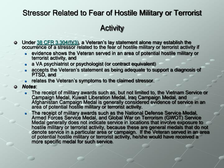 Stressor Related to Fear of Hostile Military or Terrorist Activity