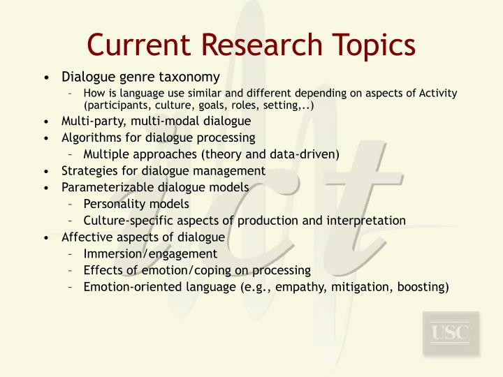 Current Research Topics