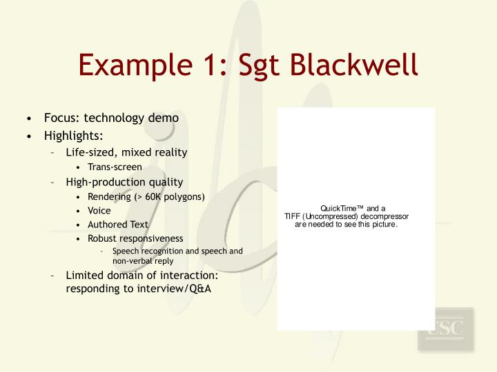 Example 1: Sgt Blackwell