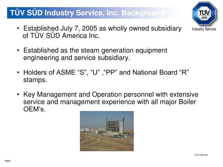 TÜV SÜD Industry Service, Inc. Background