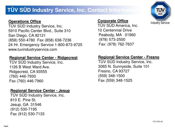 TÜV SÜD Industry Service, Inc. Contact Information