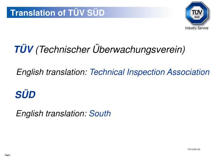 Translation of TÜV SÜD