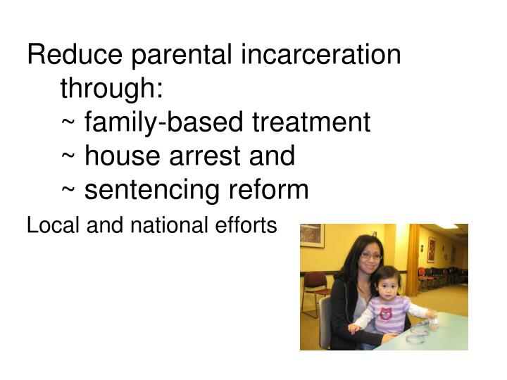 Reduce parental incarceration through:
