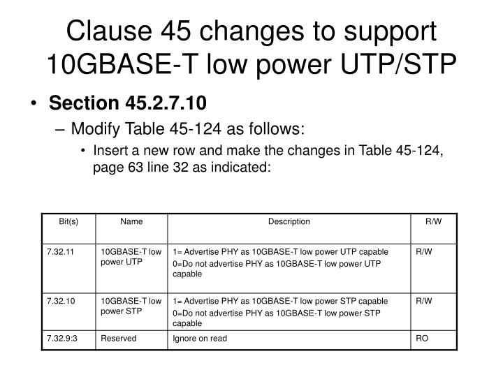 Clause 45 changes to support 10gbase t low power utp stp