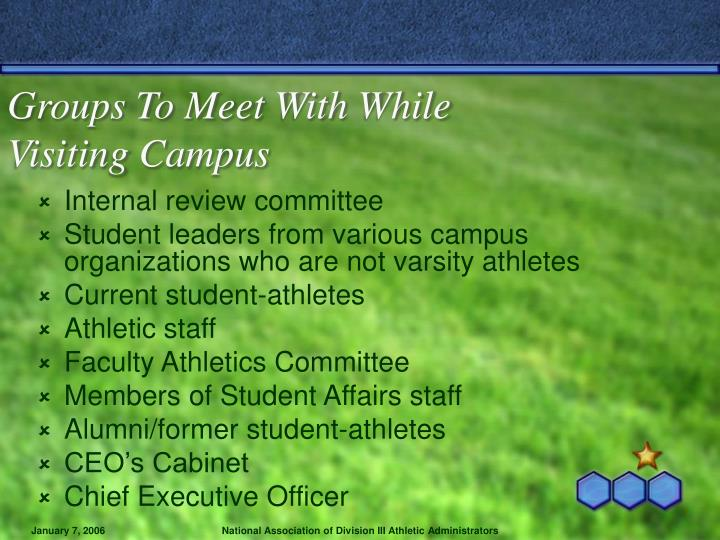 Groups To Meet With While