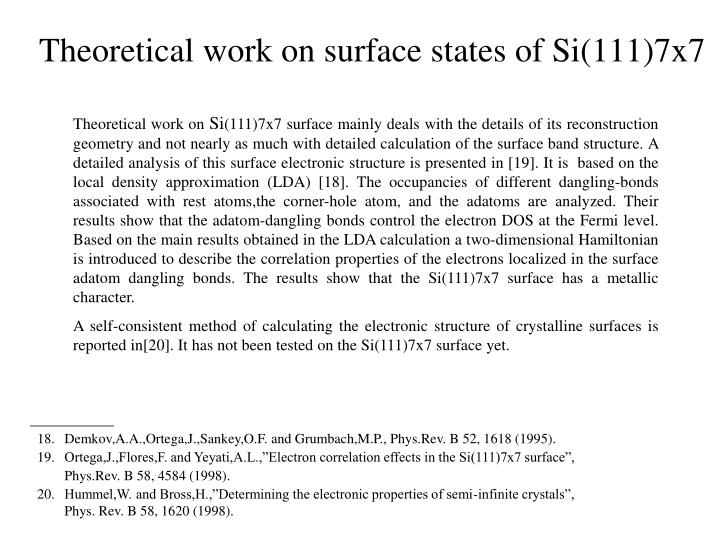 Theoretical work on surface states of Si(111)7x7