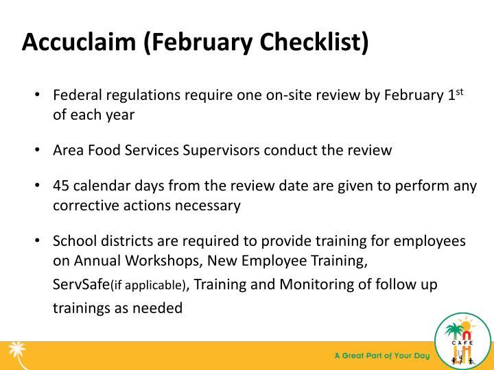 Accuclaim (February Checklist)