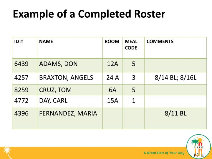 Example of a Completed Roster