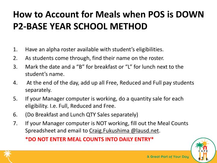 How to Account for Meals when POS is DOWN