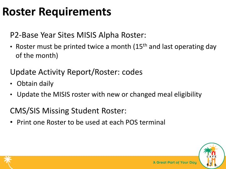 Roster Requirements