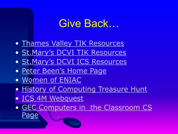 Give Back…