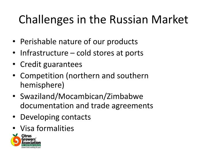 Challenges in the Russian Market
