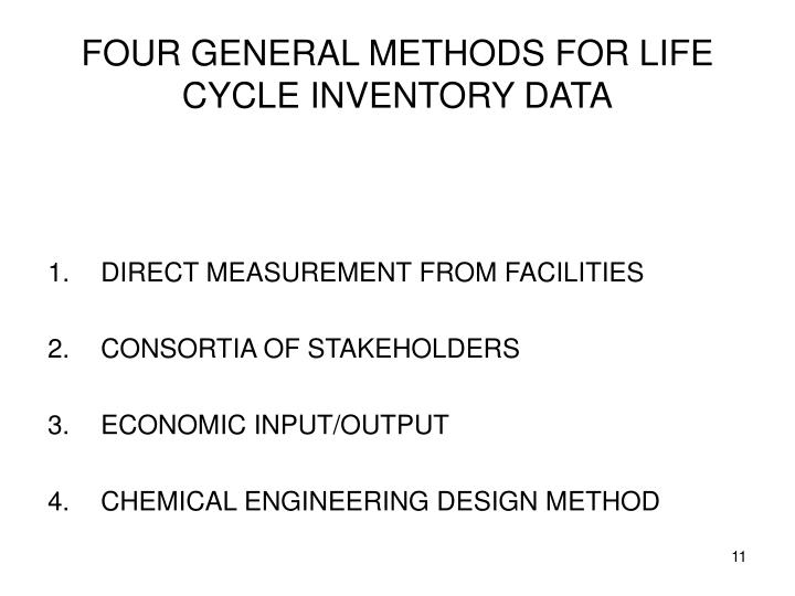 FOUR GENERAL METHODS FOR LIFE CYCLE INVENTORY DATA