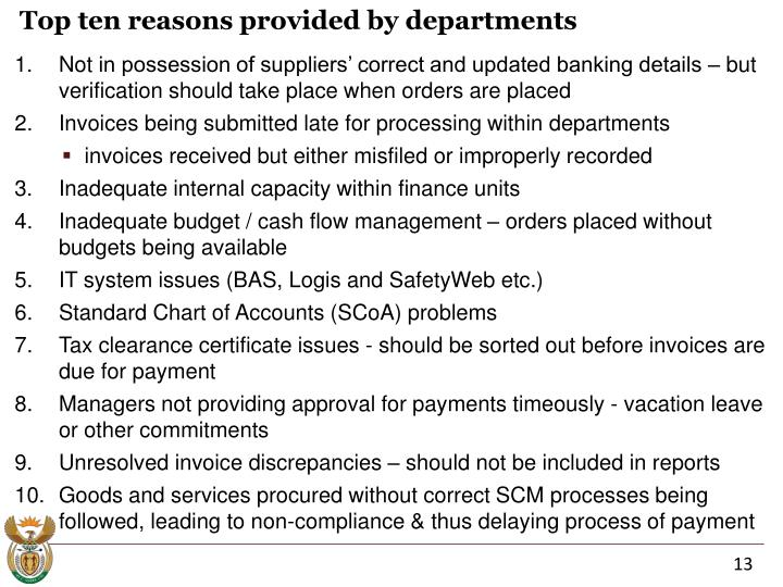 Top ten reasons provided by departments