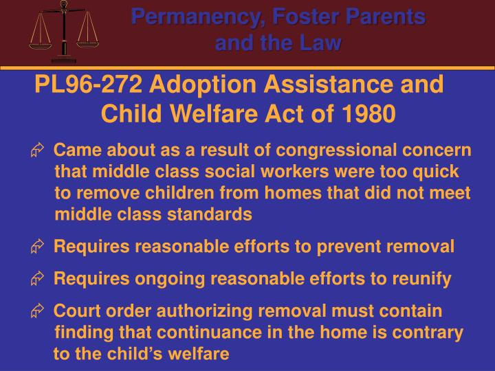 PL96-272 Adoption Assistance and Child Welfare Act of 1980
