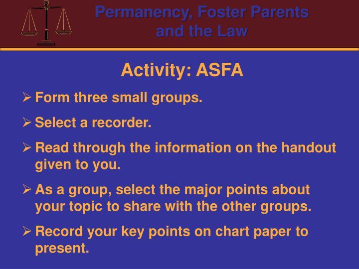 Activity: ASFA