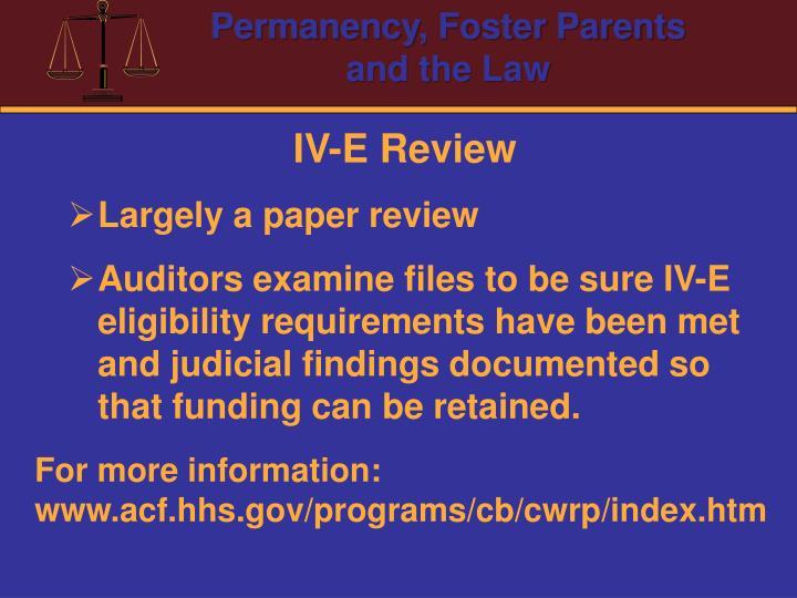 IV-E Review