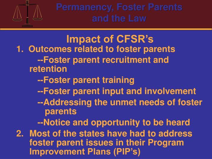 Impact of CFSR's
