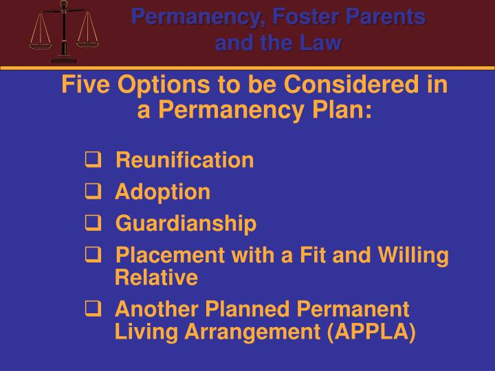 Five Options to be Considered in a Permanency Plan: