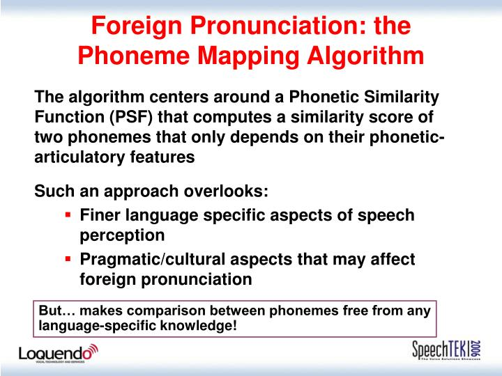 Foreign Pronunciation: the Phoneme Mapping Algorithm