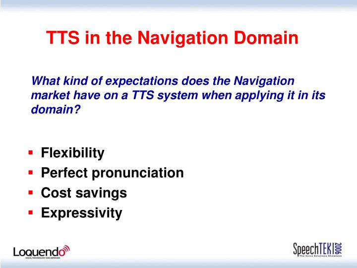 TTS in the Navigation Domain