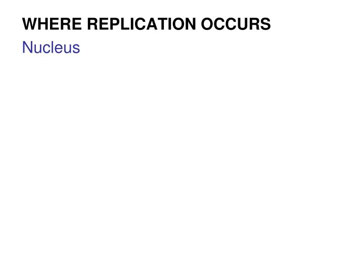 WHERE REPLICATION OCCURS