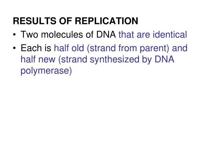 RESULTS OF REPLICATION