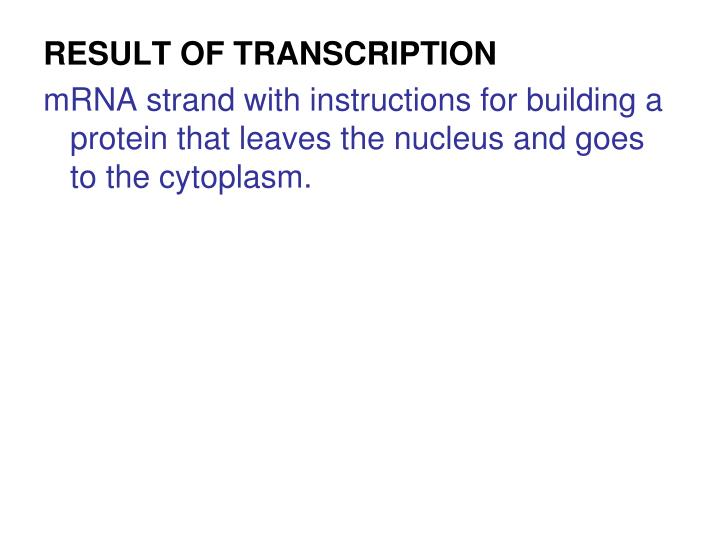 RESULT OF TRANSCRIPTION