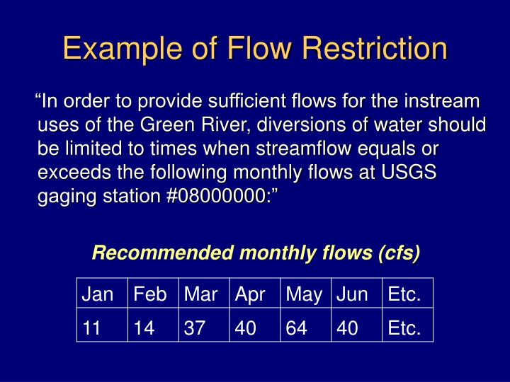 Example of Flow Restriction