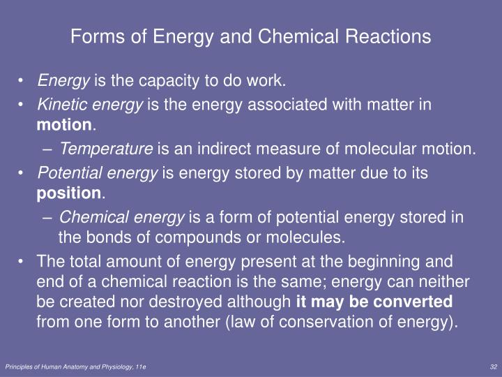 Forms of Energy and Chemical Reactions