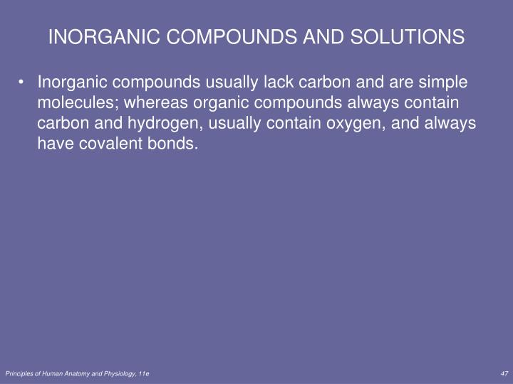 INORGANIC COMPOUNDS AND SOLUTIONS