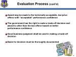 evaluation process cont d