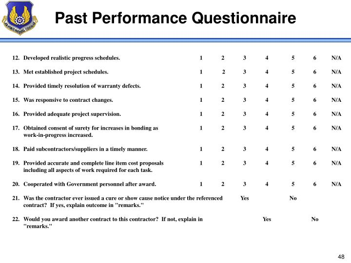 Past Performance Questionnaire