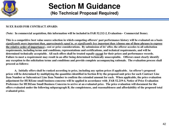 Section M Guidance