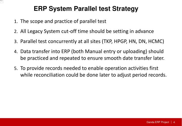 ERP System Parallel test Strategy