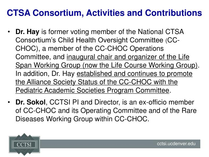 CTSA Consortium, Activities and Contributions