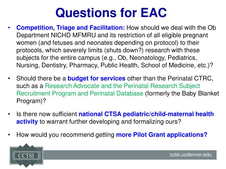 Questions for EAC