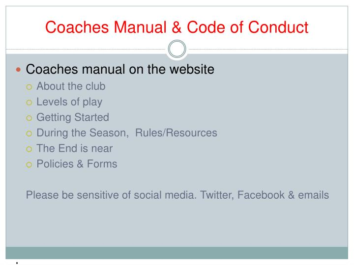 Coaches Manual & Code of Conduct