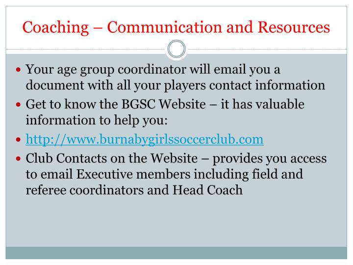 Coaching – Communication and Resources