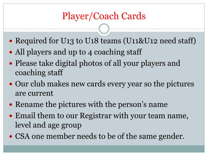 Player/Coach Cards