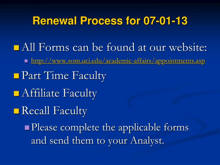 Renewal Process for 07-01-13