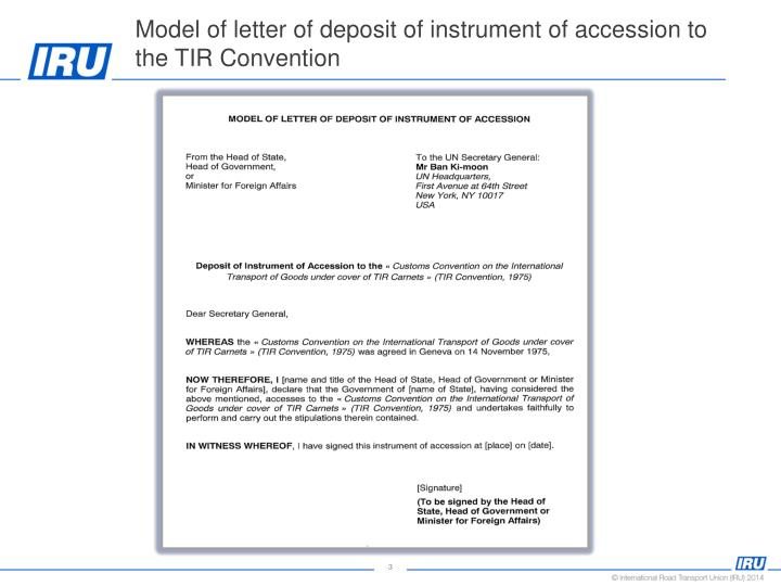 Model of letter of deposit of instrument of accession to the TIR Convention