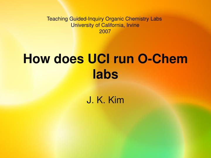 how does uci run o chem labs