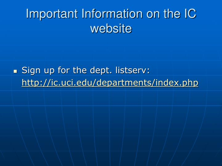 Important Information on the IC website