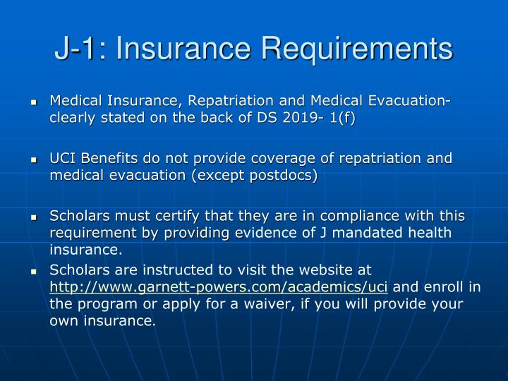 J-1: Insurance Requirements